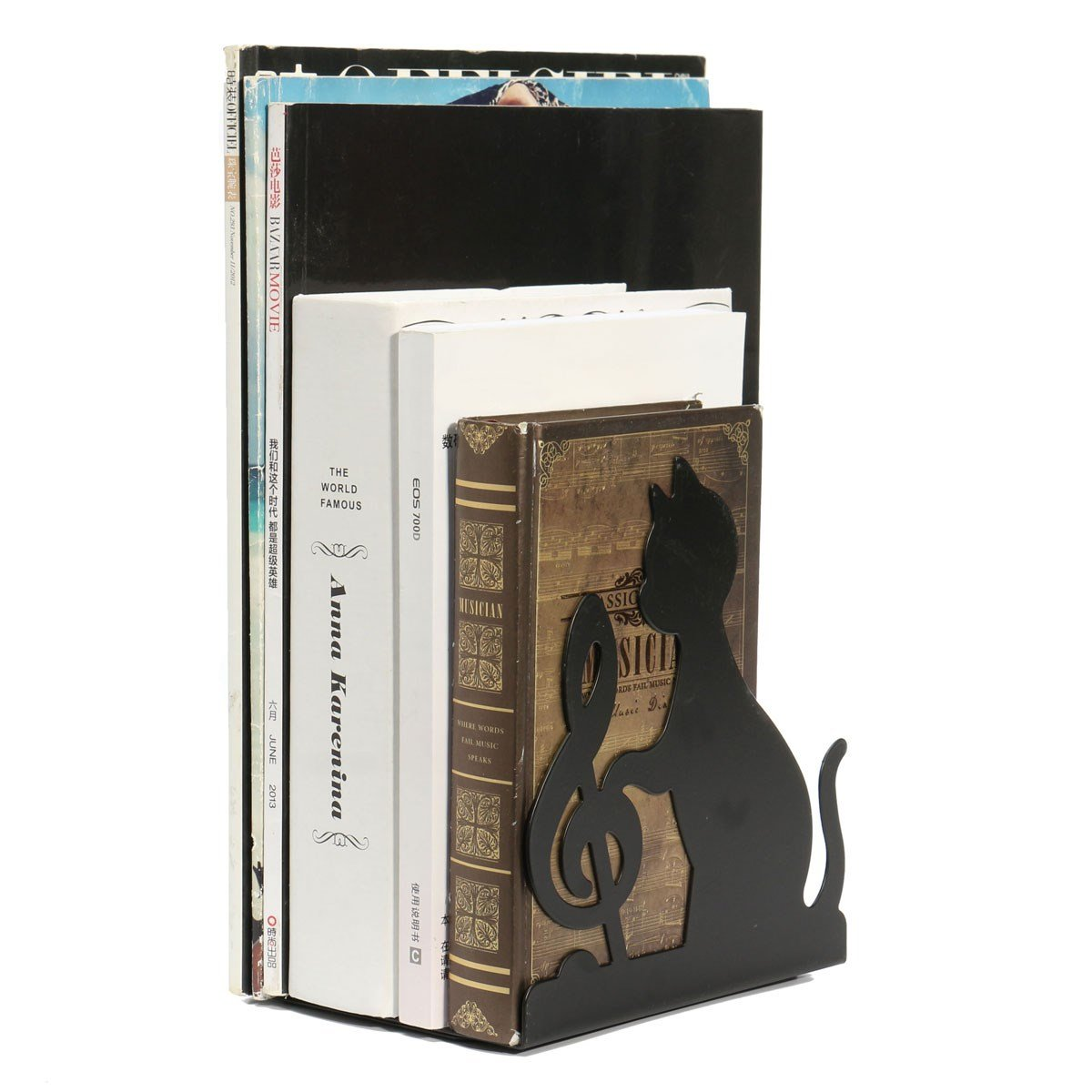 1 Pair Metal Book Cat Bookend Holder Iron Cute Animal Music Themed Black Cat Playing Violin Bookend by Xiaolanwelc