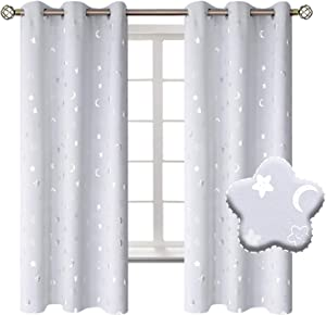 BGment Moon and Stars Blackout Curtains for Kids Bedroom, Grommet Thermal Insulated Room Darkening Printed Nursery Curtains, 2 Panels of 42 x 63 Inch, Greyish White