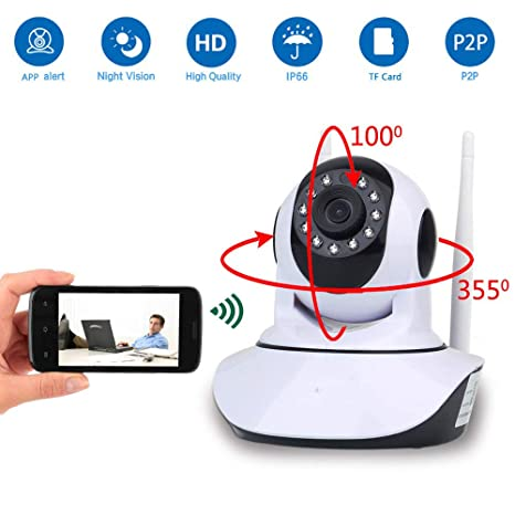 ZMM Cámara IP WiFi, Wireless HD 1080P Home Seguridad Sistemas de vigilancia de Interiores pequeñas