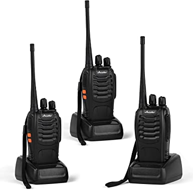 Ansoko Walkie Talkies Rechargeable Long Range Two Way Radios 16-Channel with Earpiece Battery n Charger 3 Pack