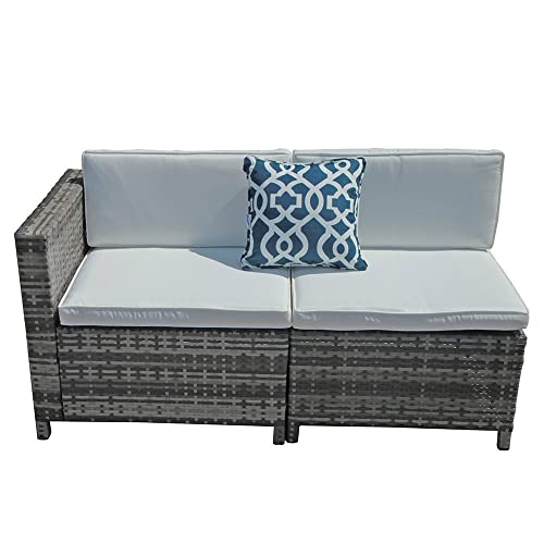 Patiorama Patio Loveseat, All-Weather Grey PE Wicker Corner and Armless Chairs with White Cushions, Extra Chair Patio Set