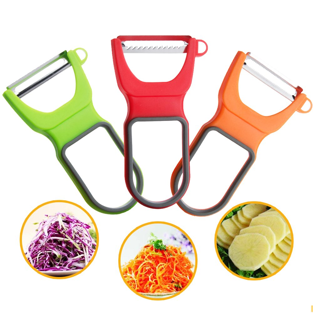 3PCS Multi-Function Stainless Steel Peeler Set with Different Blades for Onion Tomato Kiwi Fruit Potato Apple Cucumber Vegetable Migavan