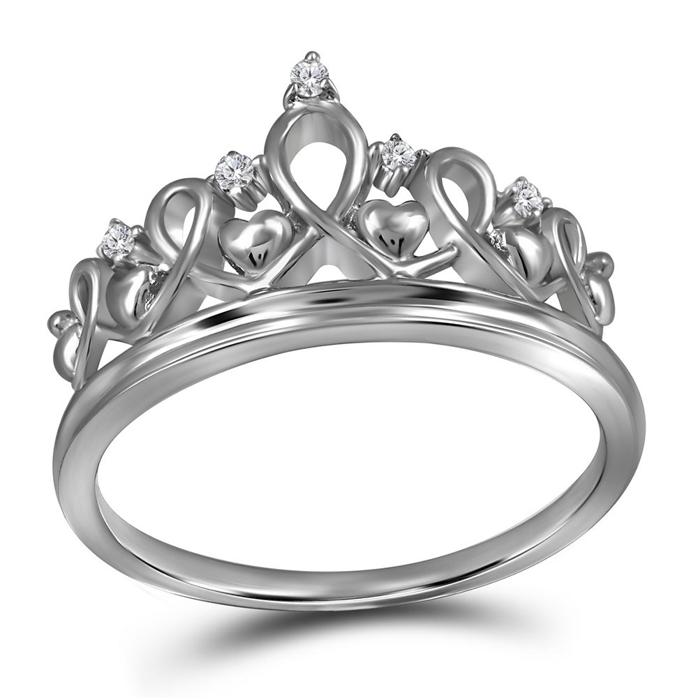 Sterling Silver Womens Round Diamond Tiara Crown Princess Band Ring 1/20 Cttw