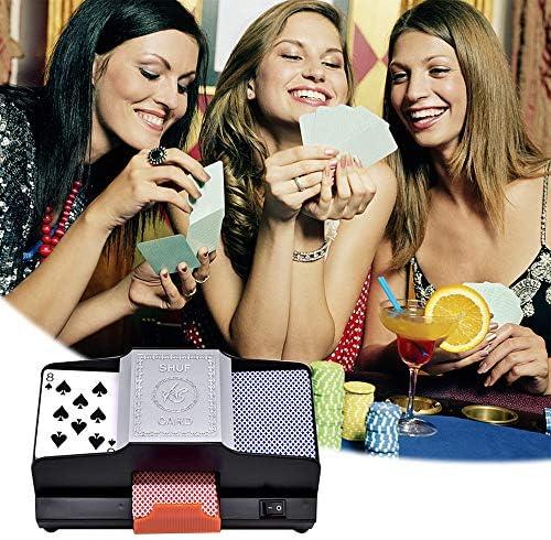 TRF Kartenmischer, 2 Decks High Speed Automatic-Kartenmischer - Silent Motor 1 oder 2 Decks Knopfdruck - für Familie, Treffen, Party, Unterhaltung
