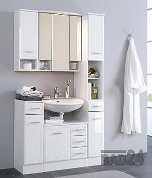 Badezimmermöbel weiss günstig  BADMÖBEL SET günstig, 5 tlg. Neapel, Hochglanz weiß: Amazon.de ...
