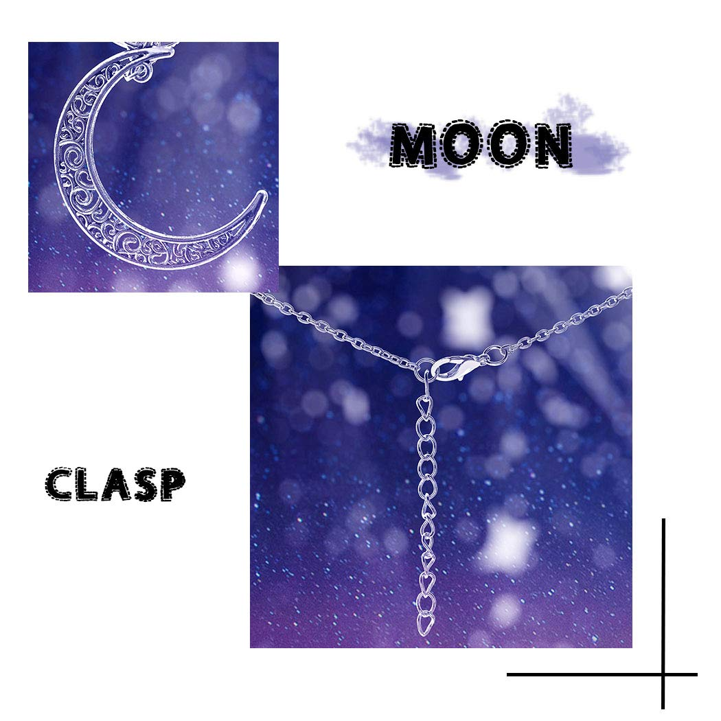 Barogirl Luminous Necklace Crescent Moon Glow Pendant Necklaces Love Heart Silver Plated 2 PCS (Set 1) by Barogirl (Image #5)