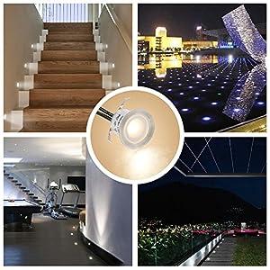Tomshine 16 Pack Recessed LED Deck Light Kit, High Bright In Ground Outdoor Landscape LED Lighting for Stair Patio Garden Floor Corner Sauna Room Bathroom, Waterproof IP67, 12V Low Voltage safe