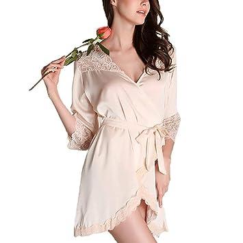 Forall-Ms Bata De Seda Estilo Kimono para Mujer, Túnicas De Novia, Lencería