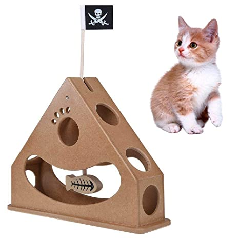 KOBWA Wooden Cat Toys Box, Fun Interactive Cat Toy with Dangle Fish and Pirate Flag