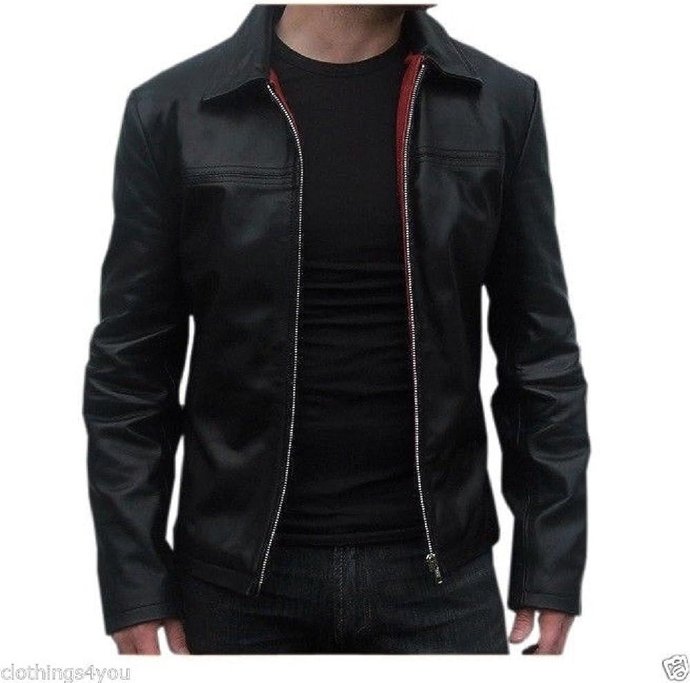 Mens Genuine Lambskin Leather Jacket Slim fit Biker Motorcycle Jacket N418