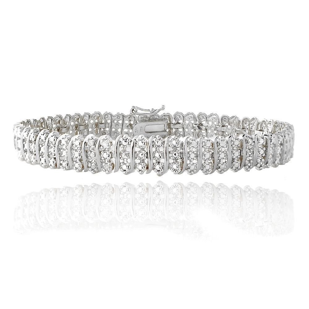 Women's 14K White Gold Finish 1.05CT Diamond S-Link Tennis Bracelet (8 Inches) by Jawa Jewelers