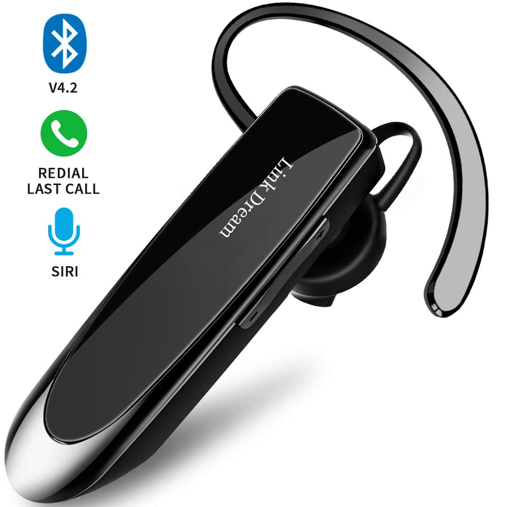 Bluetooth Earpiece Link Dream Wireless Headset with Mic 24Hrs Talktime Hands-Free in-Ear Headphone Compatible with iPhone Samsung Android Smart Phones, Driver Trucker (Black) by Link Dream