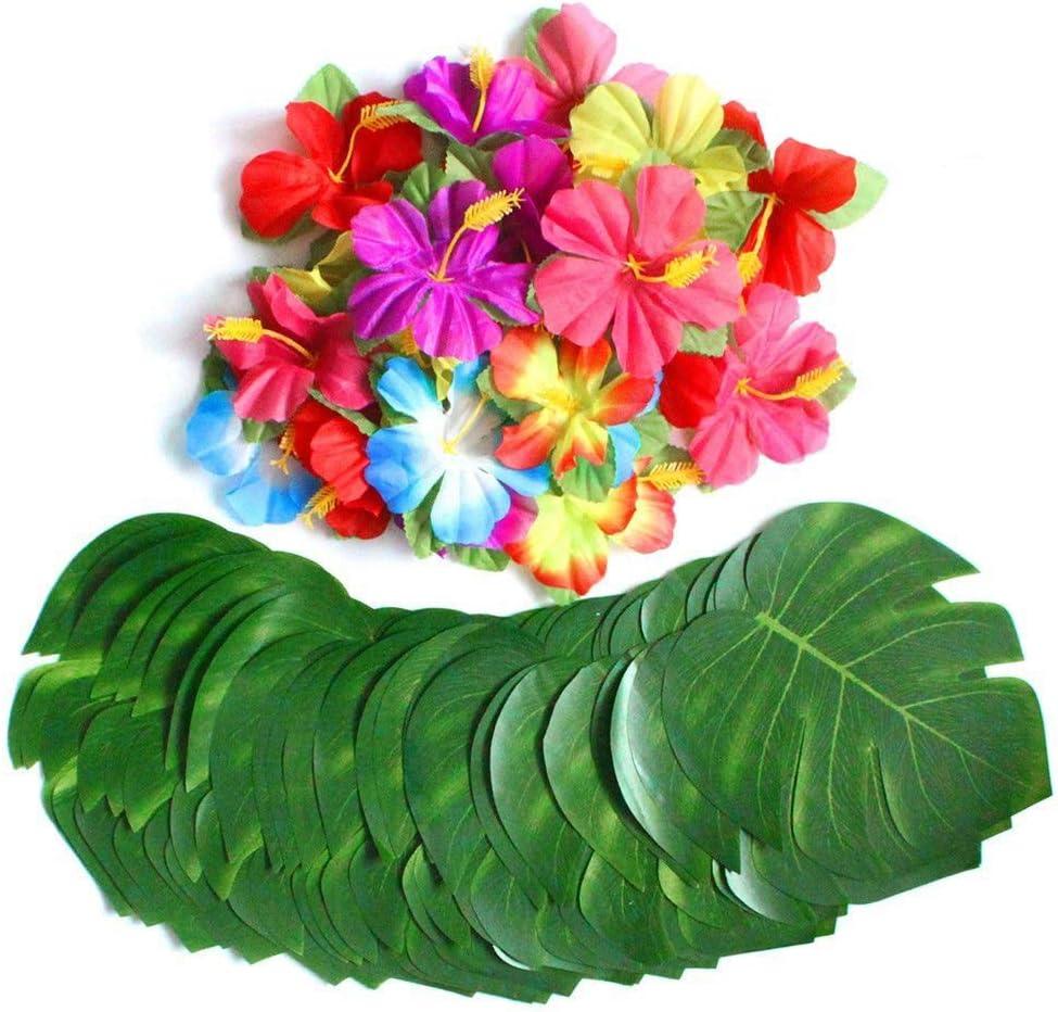 Pangmao Falda de hierba hawaiana con flor fiesta disfraces para ...