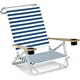 Telescope Casual Original Mini-Sun Chaise Folding Beach Arm Chair with Cup Holders, Blue/White Stripe