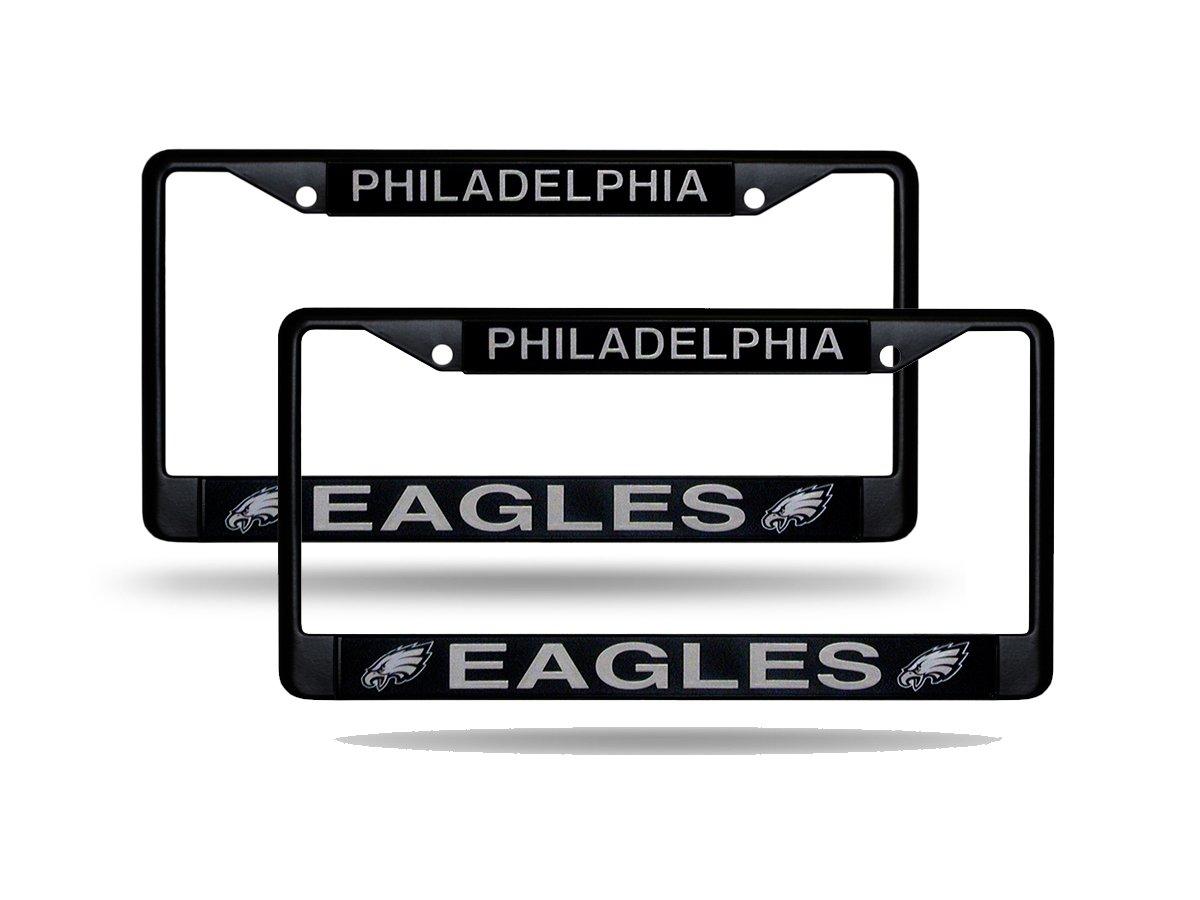 Set of 2 Philadelphia Eagles Official NFL Black Metal License Plate Frame NFL Official License