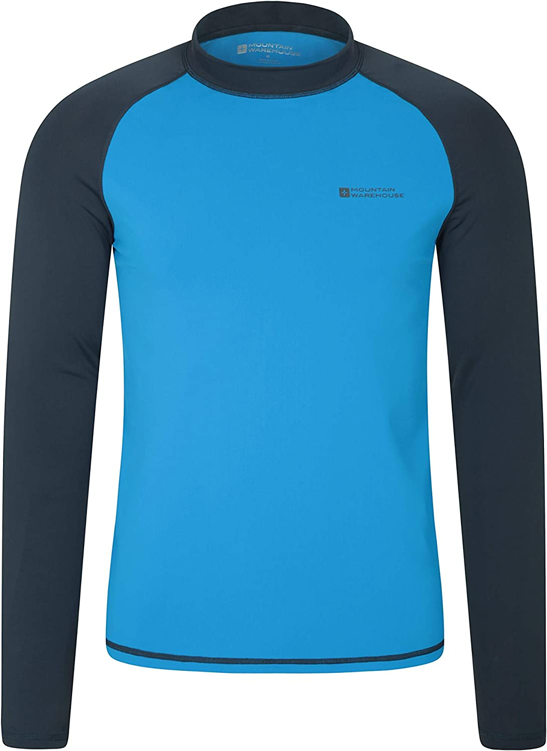 Prevents Chafing for Swimming /& Surfing Quick Drying Rash Guard UPF50+ Sun Protection Rash Top with Flat Seams Mountain Warehouse Mens Long Sleeves Rash Vest