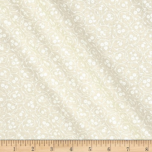 Santee Print Works Classic Tone Floral Circles White/Tan Fabric by The Yard