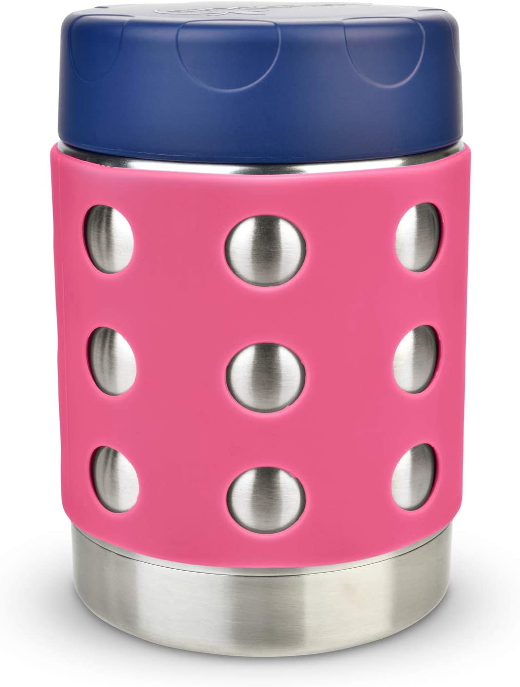 LunchBots Thermal 12 oz Triple Insulated Food Container - Hot 6 Hours or Cold 12 Hours - Leak Proof Thermos Soup Jar - All Stainless Interior - Navy Lid - Pink Dots