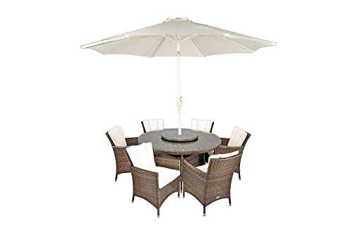 Maze Rattan La 6 Seat Round Dining Set With A 135cm Table