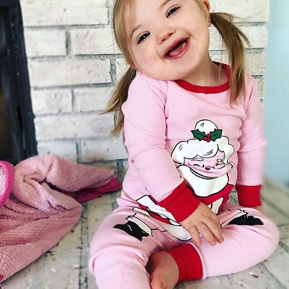Toddler Boys Girls Christmas Pajamas Family Matching Fit Santa Claus Sleepwear T Shirt Pants Set Kids Clothes