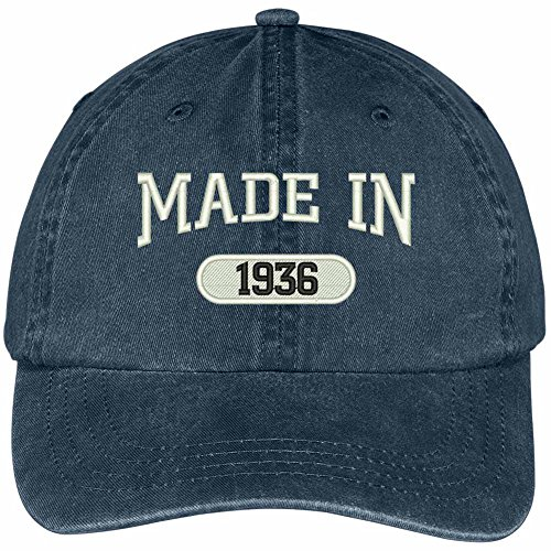 Trendy Apparel Shop 83rd Birthday - Made in 1936 Embroidered Low Profile Washed Cotton Baseball Cap - Navy ()