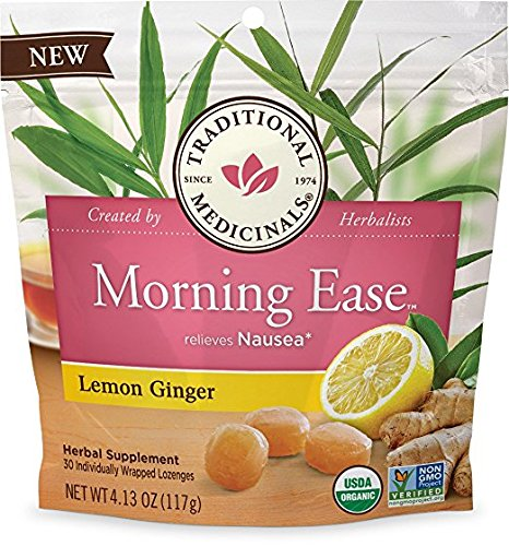 Traditional Medicinals Morning Ease Anti-Nausea Lozenges, Lemon Ginger (30 count)
