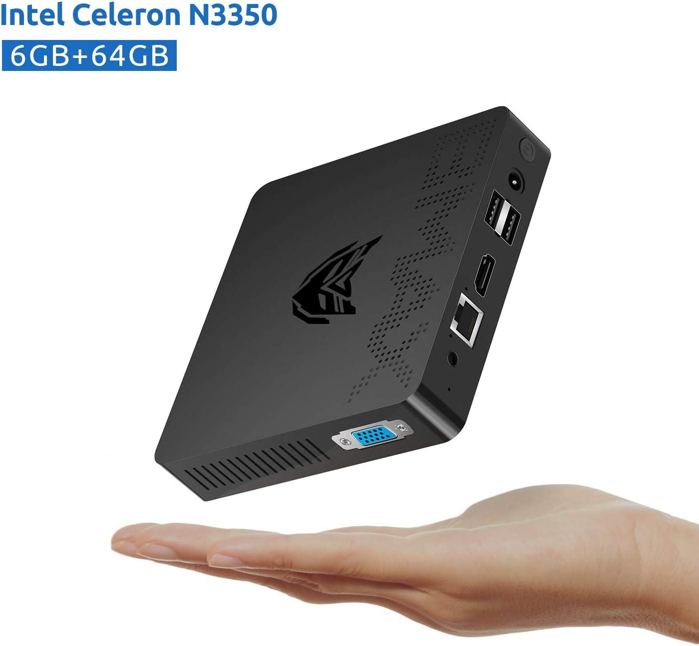 Mini PC, Fanless Intel Celeron N3350 Processor (Up to 2.4GHz) 6GB DDR4/ 64GB eMMC Windows 10 Pro Mini Desktop Computer 2.4G/5G Dual WiFi, HDMI+VGA 4K Dual-Screen Display, BT4.2, USB x4