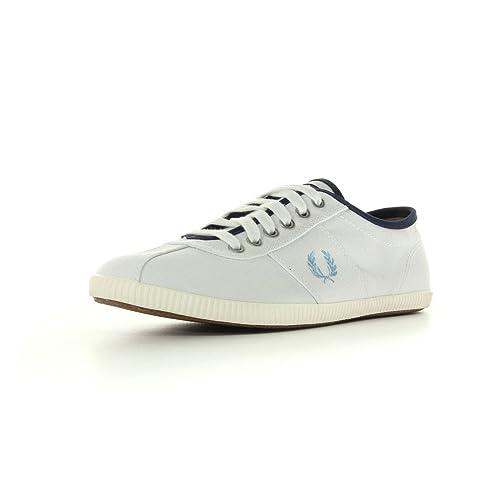 Fred Perry Hayes Canvas - Zapatillas de Deporte de Tela Hombre, Blanco (Blanc, Bleu Marine et Bleu Ciel), 44 EU: Amazon.es: Zapatos y complementos