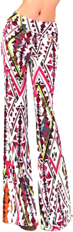 Vska Women Fashion Printing Slim Fit Casual Pants Flared Pants