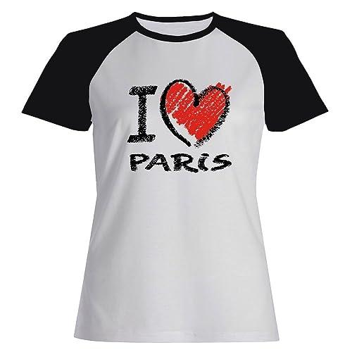 Idakoos I love Paris chalk style - Capitali - Maglietta Raglan Donna