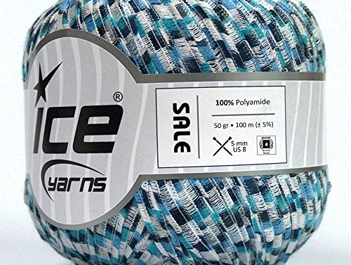 Lot of 6 Skeins Ice Yarns SALE RIBBON Hand Knitting Yarn Blue Shades White (Yarn Ribbon Knitting)