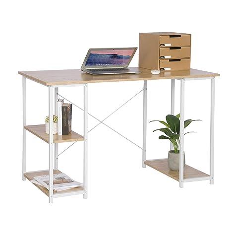 Libreria E Scrivania Per Studio.Woltu Tsb31hei Scrivania Per Ufficio Studio Libreria Tavolo Da
