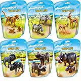 Playmobil Wild Life Animals of Africa 6 pcs. set 6940 6941 6942 6943 6944 6945 Leopard with Babys + Warthogs + Gazelles + Gnus + Buffalos + Hippos with Babys by Playmo