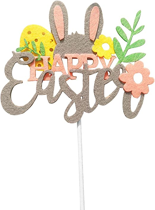 CC HOME Spring Bunny Decorations //Happy Easter Bunny Cake Topper //Birthday Cake Toppers //Gold Glitter Happy Birthday Cake Topper Cake Decorations for Baby Shower //Birthday//Wedding Anniversary Party Sign Decorations