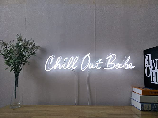 Chill Out Babe Real Glass Neon Sign For Bedroom Garage Bar Man Cave Room  Home Decor Handmade Artwork Visual Art Dimmable Wall Lighting Includes  Dimmer