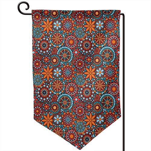 lsrIYzy Garden Flag,Ethnic Asian Tribal Circular Floral Cosmos Symbolism Moroccan Design,12.5x18.5 inch]()