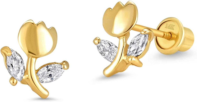 gold tulip earrings gold flower earrings