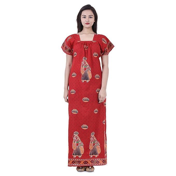 3c4f782441 APRATIM Womens Nighty Nightwear Gown Cotton Maxi Dress Sleepwear ...
