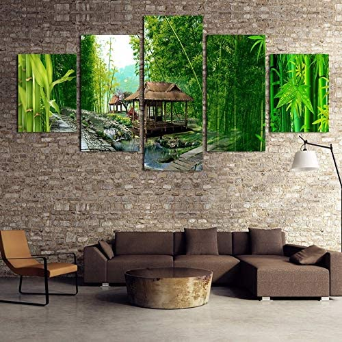 Arte de la Pared Modular PictureHome Decor 4 PieceGreen Bamboo ...