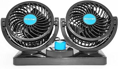 Xcellent Global Ventilateur de voiture, 12 V, doubles têtes rotatives, rafraîchit, silencieux, design sûr pour les enfants