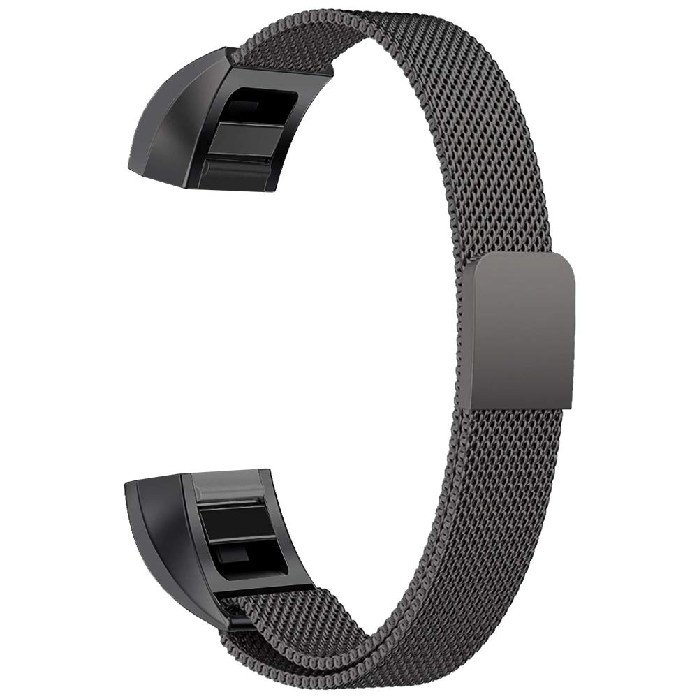 Oitom for Fitbit Alta HR Accessory Band and for Fitbit alta Band, (2 Size) Large 6.7''-9.3'' Small 5.1''-6.7'' (8 Color) Silver Black Rose Gold Pink Blue Brown Rainbow(Large 6.7''-9.3'' Black)