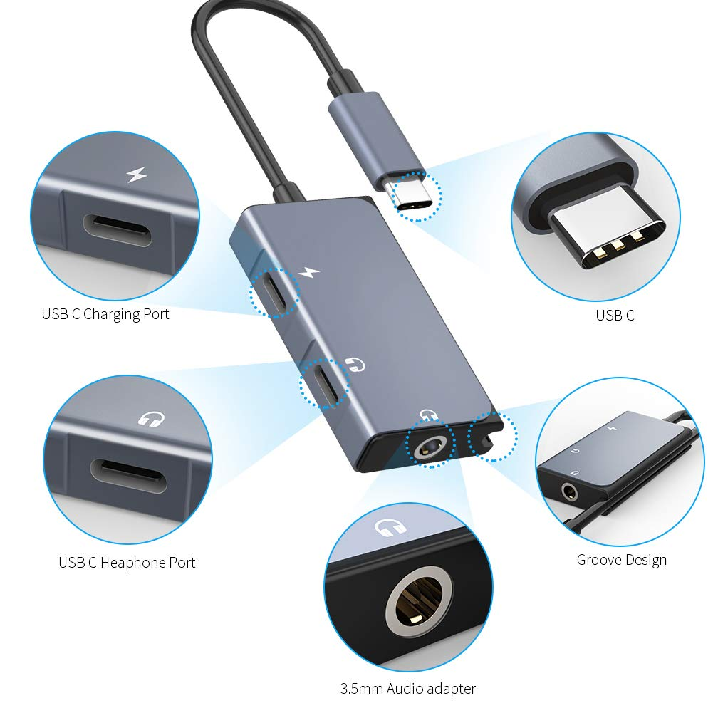 Built-in DAC Technology Ensure Stable for Galaxy Note 10 Aux Adapter 3 in 1 USB C to 3.5mm Audio with USB Type C Female Audio Port USB C to Headphone Adapter PD Power Port