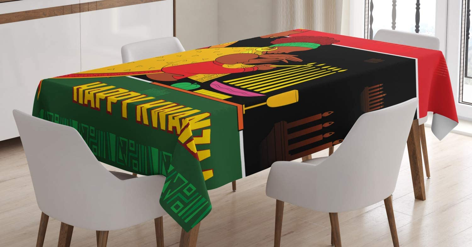 "Ambesonne African American Family Tablecloth, Happy Kwanzaa Calligraphic Illustration Celebration of Holiday, Rectangular Table Cover for Dining Room Kitchen Decor, 60"" X 90"", Green Black"