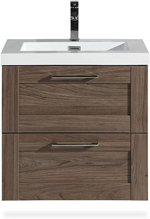 Bathroom Vanity Cosmo 24 Inch Elm Includes Wall Mounted Cabinet With 2 Large Metal Drawers And White Countertop With Integrated Sink Assembled Vanity By Flairwood Decor Amazon Com