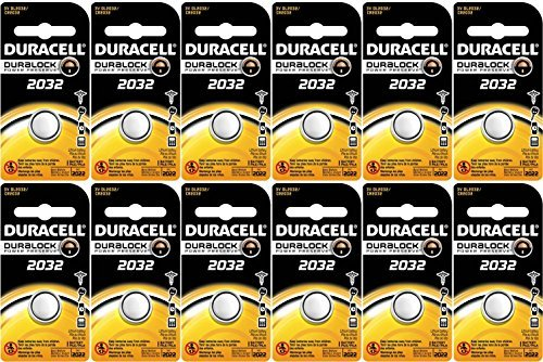Duracell DL2032 Lithium Coin Battery, 2032 Size, 3V, 230mAh Capacity Pack of 12