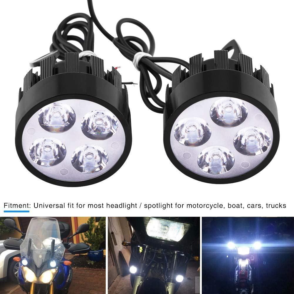 1 paire de phares universels de moto avec interrupteur pour phares avant de moto universels