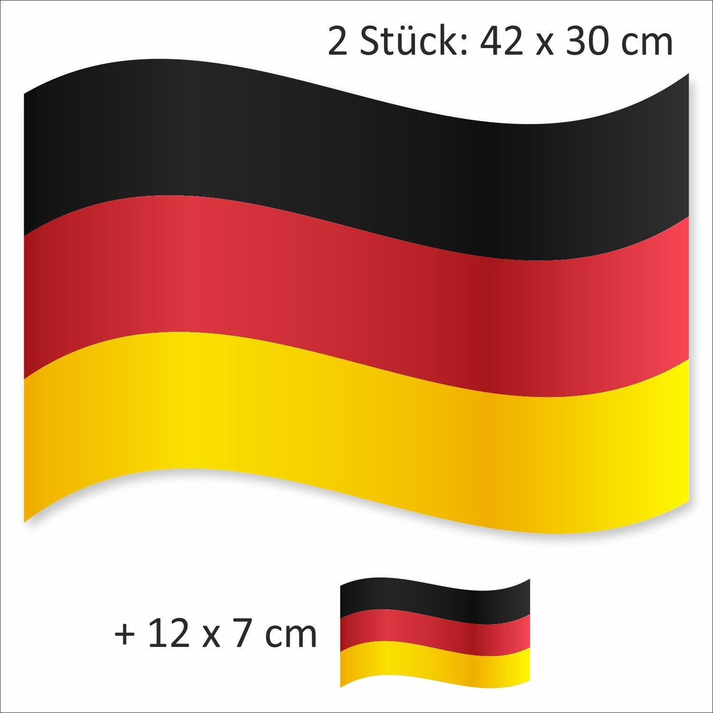 easydruck24de 3er Set Auto-Magnet Deutschland-Flagge I kfz 504 I Auto-Magnet-Flagge Fan-Artikel Fahne schwarz rot Gold I magnetisch wetterfest