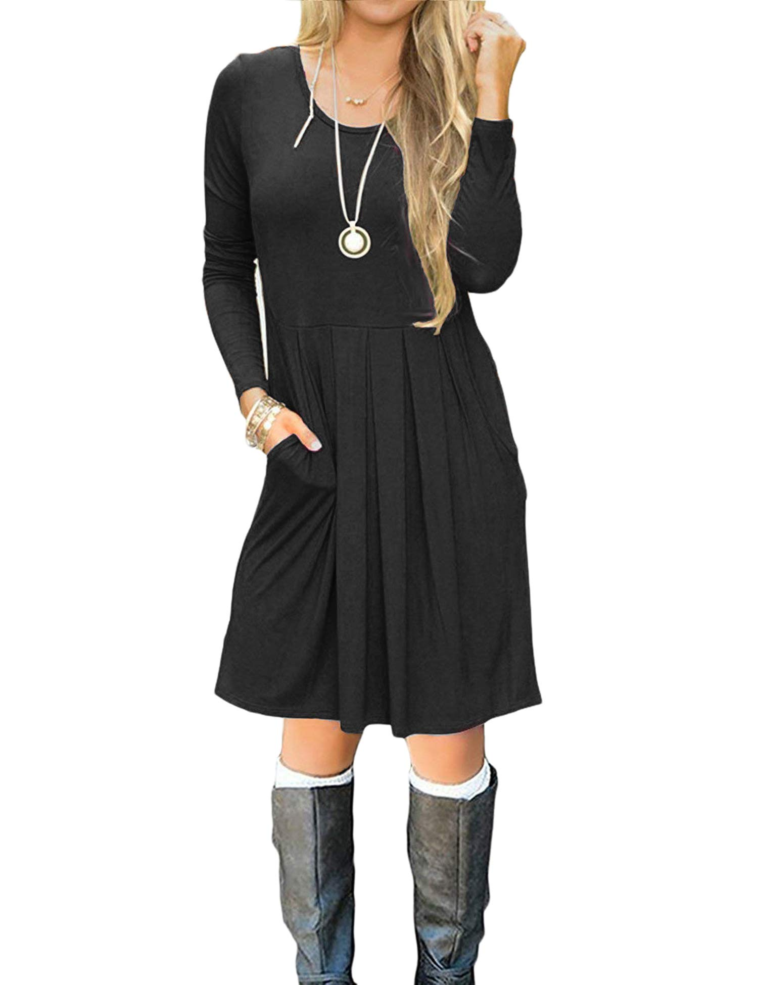 Uniboutique Women's Summer Long Sleeve Round Neck Casual Pleated Cotton Beach Dress Black M