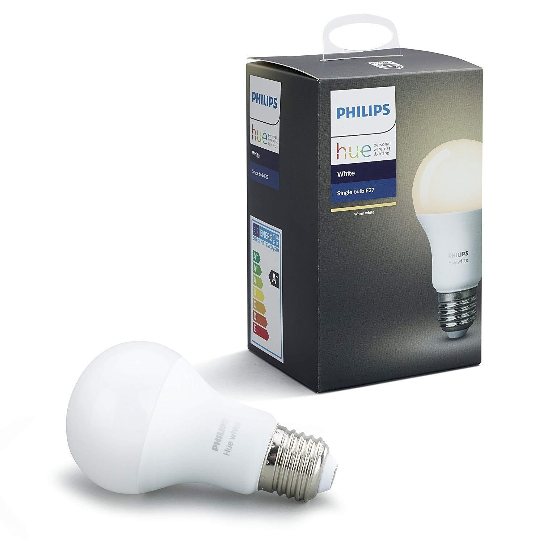 Philips Hue White - Bombilla LED E27 Individual, 9.5 W, Iluminación Inteligente, Luz Blanca Cálida Regulable, Compatible con Amazon Alexa