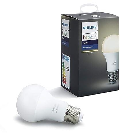 Philips Hue White - Bombilla LED E27 Individual, 9.5 W, Iluminación Inteligente, Luz Blanca Cálida Regulable, Compatible con Amazon Alexa, Apple ...